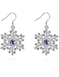 Sterling Silver Plated Snowflake Drop & Dangle Earrings for Women Fashion Jewelry Snowflake Earrings with PU Jewelry Pouch