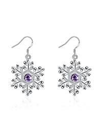 BODYA Silver Tone Purple CZ Crystal Snowflake Charm Dangle Earrings Bridal Winter Christmas Fashion Jewelry