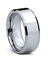 Metal Masters Co.® High Polish Beveled Edge Tungsten Carbide Ring sizes 5 to 15