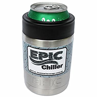 EPIC 12 oz Beer Can Cooler - Double Wall Vacuum Insulated Beverage Colster Can holder - Keeps drinks cold-Made with the Highiest Quality of Stainless Steel - Heavier than most Brands