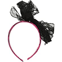 Forum Novelties 80's Neon Lace Headband with Bow, Pink