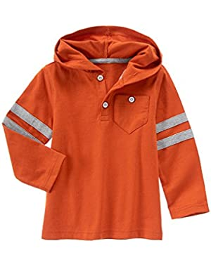 Baby Boy Deep Orange Hooded Henley Shirt