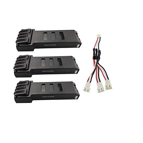 3 Battery + Conversion Line elegantstunning 7.4V 1200mahl Lithium Battery with 1 to 3 Charging Conversion Line for E511 E511S Folding Quadcopter Spare Battery 2 Battery