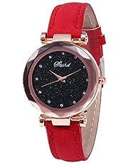 Neu!!!Damen Uhren Modisch Diamond Sternenhimmel Dial Armbanduhren, Bloodfin Damenuhren wasserdichte Watches Quarzuhr mit Leder Uhrenarmbänder Schnalle Geschenk für Frauen Damen