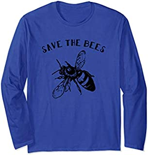 Vintage Bee  - Retro Save The Bees Gift Tee Long Sleeve T-shirt | Size S - 5XL