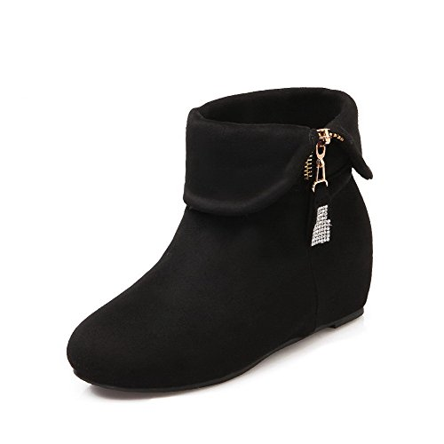 WeenFashion Women's Solid Imitated Suede Toe Kitten-Heels Chains Round Closed Toe Suede Boots B01MF4ZTWV Shoes 6ecdd0