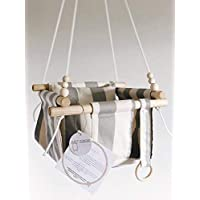 Indoor/Outdoor Grey and Beige Striped Fabric Baby Swing