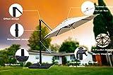 Mefo garden 11 Ft Offset Cantilever Umbrella, 360° Rotated Outdoor Patio Umbrella for Garden, Backyard with Cross Base, Round Canopy, Beige