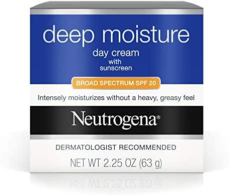 Neutrogena Deep Moisture Face Cream with SPF 20 Sunscreen, Glycerin, Shea Butter & Vitamin D3, Face moisturizer for dry skin - SPF moisturizer, Glycerin, Shea Butter, Vitamin D3, 2.25 oz (Pack of 3)