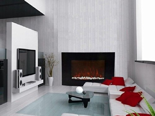 chimney free wall mount electric fireplace costco glass heater remote amazon heat adjustable home kitchen stanton