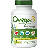 Ovega-3 Plant-Based Omega-3 Daily Dietary Supplement | 500 mg Omega-3s, 135 mg EPA, 270 mg DHA, | Supports Heart, Brain, Eye, & Overall Health* | NO FISH = No Fishy Aftertaste | 60 Vegetarian Softgels