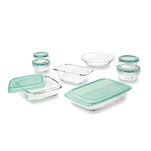 14-Piece Elegant And Durable Glass Baking Dish Set with Lids in Green, Superior Freezer To Oven Performance Usage By OXO Good Grips