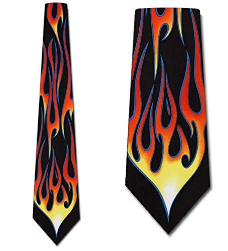 Hot Rod Flame Tie Mens Necktie by Ralph - Mens Marlin Ralph Necktie