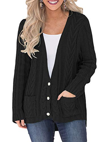 Women Open Front Knit Cardigan Casual Print Knitted Maxi Sweater Coat Outwear Pockets Black L -