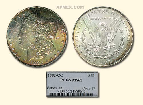 1882 CC Morgan Dollar MS-65 PCGS (Toned) $1 MS-65 PCGS