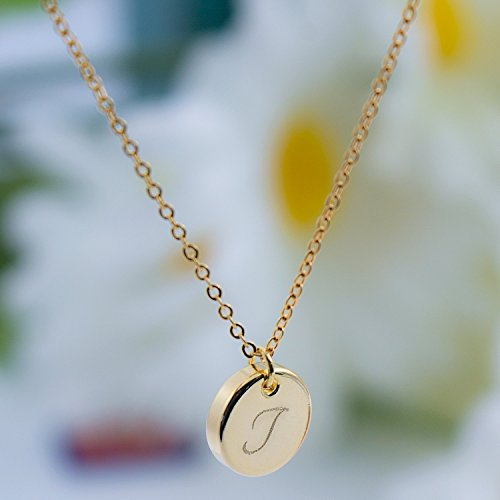 Custom Initial Disc Necklace - Dainty Personalized Thick Gold Silver Rose Gold Circle Pendant Plate Delicate Initial Disc Charms Necklace Diamond Engraving -