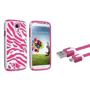 Quaroth Everydaysource Compatible with Samsung Galaxy S4/ S IV Hot Pink Skin / White Zebra Hard Hybrid Case + Hot Pink...
