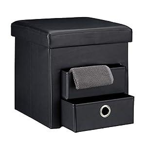 Relaxdays Tabouret de rangement carré pliant en similicuir avec couvercle amovible pouf ottoman de stockage cube pour salon pliable avec 2 tiroirs amovibles repose-pieds HxlxP: 38 x 38 x 38 cm, noir