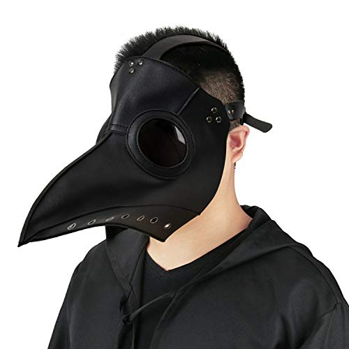 Plague Doctor Mask Birds Long Nose Beak Faux Leather Steampunk Halloween Costume Props (Deluxe Black)