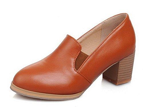 AalarDom Femme Toile Fermeture d'orteil à Talon Bas Tire Chaussures Légeres Jaune