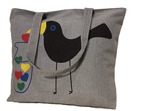 Eco Canvas Bags zippered Tote for Women School Teacher with Shoulder Straps Pocket Waterproof Handbag Love Bird