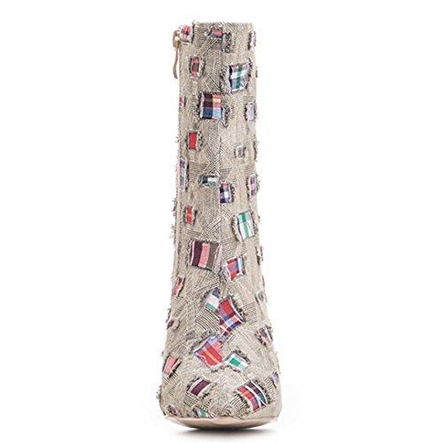 Stivaletti kaki Tacco Donne Con 2248multicolor Coolcept Alto Sottili Cerniera Modo qpRnBAwgB