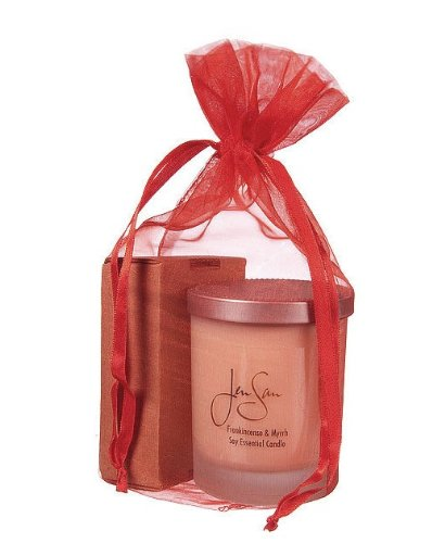 Jensan 2-piece Organic Soap and Soy Candle Aromatherapy Gift Set in Organza Bag (Bergamot Ylang Ylang Candle - Rose Geranium Soap) ()