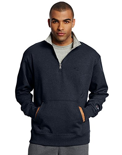 Champion Men's Powerblend Quarter-Zip Fleece Jacket, Navy, Medium