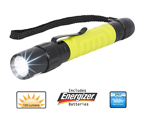 Internet's Best LED Pocket Flashlight with Clip | Includes 2 AA Energizer Batteries | Neon Yellow| Rubber Grip | Water Resistant | 150 Lumens - Aa Led Rubber Grip Flashlight