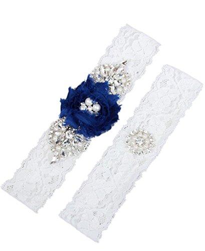 MerryJuly Wedding Bridal Garter Set Lace with Rhinestones and Chiffon Flowers Royal Blue Size XXXL