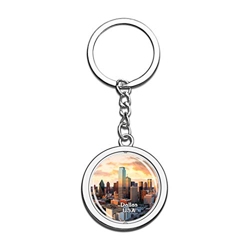 USA United States Keychain Dallas Key Chain 3D Crystal Spinning Round Stainless Steel Keychains Travel City Souvenirs Key Chain Ring