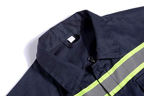 Men's High Visibility Work Coverall Reflective Safety Workwear Long Sleeve (XL, Navy) by XinAndy (Image #3)