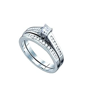 Amazon.com: 10K White Gold Diamond Bridal Engagement Ring