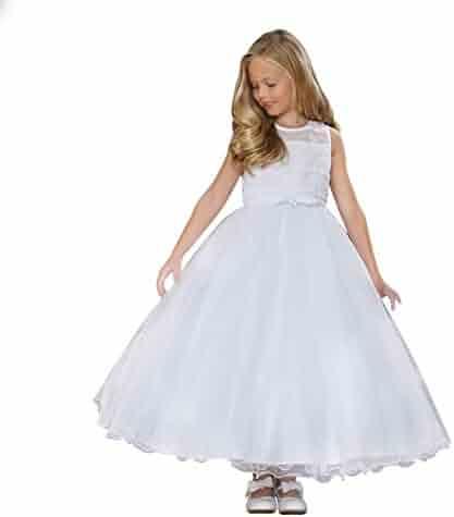 eead4467bdb Angels Garment Big Girls White Illusion Neckline Bolero Communion Dress 7-18