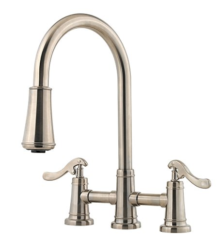 Pfister LG531YPK Ashfield 2-Handle Pull Down Kitchen Faucet in Brushed Nickel, 1.8 gpm Ashfield Two Hole Pull