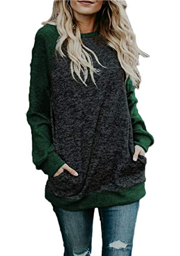 Ladies Tunic Tops, Women's Winter Lightweight Knit Pullover Tops Jersey Shirt Green M
