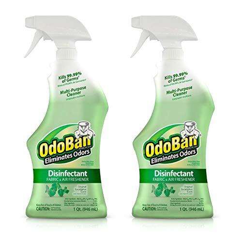 OdoBan Ready-to-Use Odor Eliminator and Disinfectant, 32oz, Original Eucalyptus Scent, 2 Spray Bottles