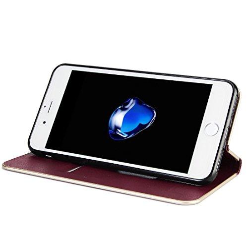 Wkae Textura de cuero de vaca Marco de parachoques de la computadora Caja fuerte de cuero del tirón de la adsorción magnética fuerte con las ranuras para tarjeta y el sostenedor para el iPhone 7 más ( Wind red