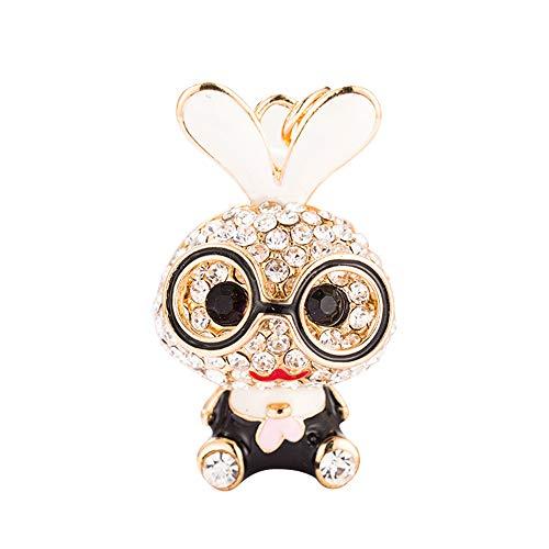 L&B Olivia Cute metal Rabbit Bunny Key Ring Key Chains Rhinestone Keychain for Purse Handbag Car Charm Pendant for Kids women (Black)