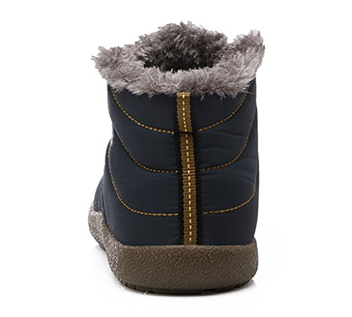 Fully Blue Slip Women Anti Lined JACKSHIBO Fur Outdoor Dark Slippers Slipper House Men Ankle Waterproof Boots npExZpgqC0