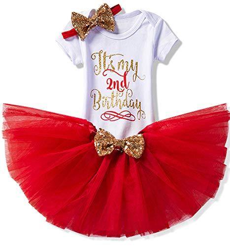 TTYAOVO Newborn Girls It's My 1st/2nd Birthday 4 Pcs Outfits with Romper&Skirt&Headband&Leggings 2 Years 3pcs(02Red 2 Years) -