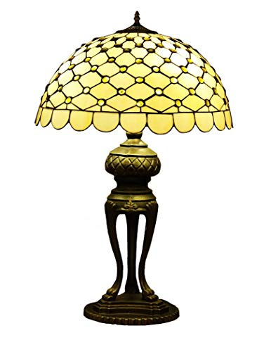 ChuanHan 20-Inch Tiffany Style Desk Lamp/Reading Light, Euro Creative Stained Glass Decorative Table Light, Antique Art Table Light for Parlour Bedchamber Study,E27,31-40W