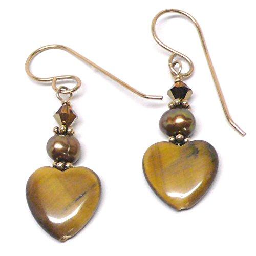 Tiger Eye 12mm Heart Sterling Silver Gold-Filled Earrings
