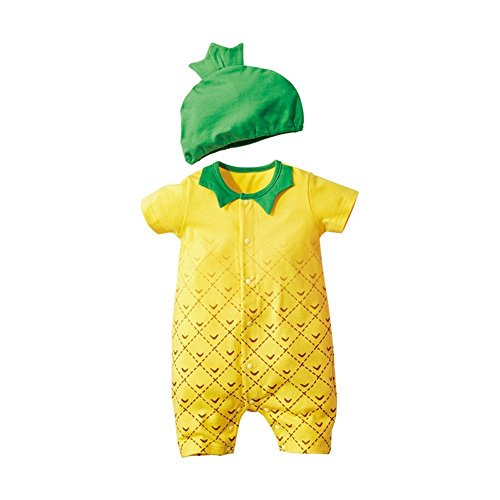 Jojobaby Baby Unisex 2Pcs Baby Clothes Fruit / Animal Bodysuit With Hats (80(6-9 Months), Pineapple)