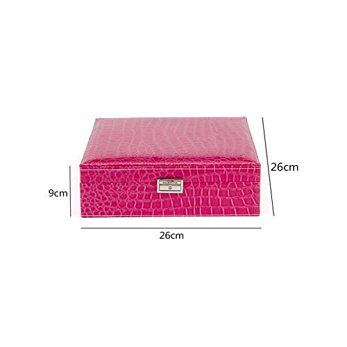 sensitives Automatic Leather Jewelry Box Three Layer Storage Box for Women Earring Ring Cosmetic Organizer Casket,D Rose red ()
