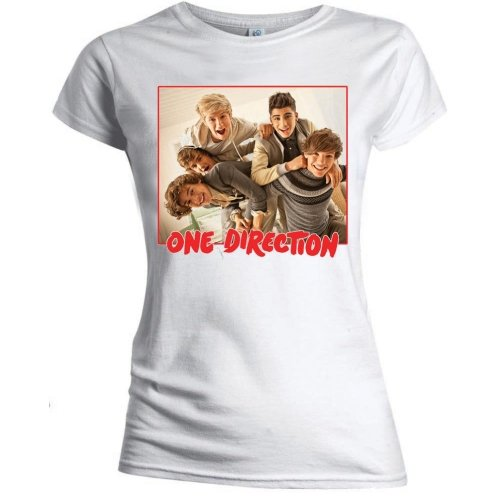 Price comparison product image Small White Womens One Direction Band Red Border T Shirt