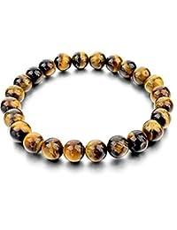 DHYANARSH 8mm Certified Natural Tiger Eye Stone Beads Bracelets for Women/Men AAA Grade Beads Unisex