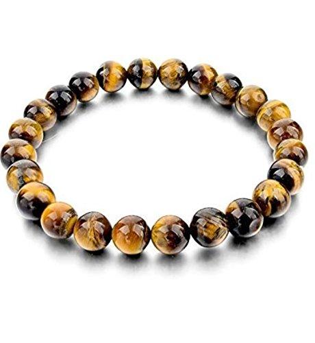 - DHYANARSH 8mm Certified Natural Tiger Eye Stone Beads Bracelets for Women/Men AAA Grade Beads Unisex