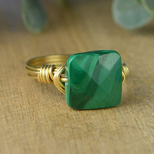 Faceted Green Malachite Square Gemstone Bead and Sterling Silver or Gold Filled Wire Wrapped Ring- Made to size ()
