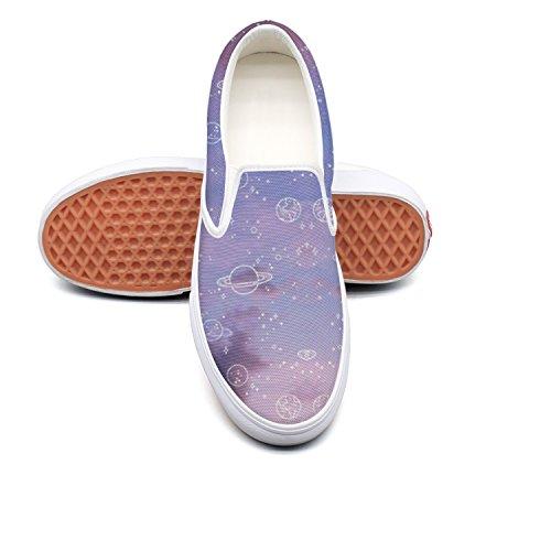 RegiDreae Canvas Slip On Sneakers For Women Romantic Solar System Planet Fashion Sneaker